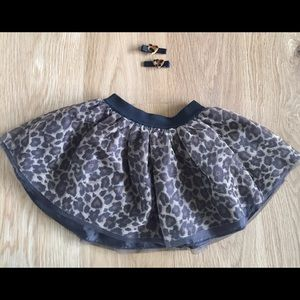 Leopard Tutu with matching heart hair clips
